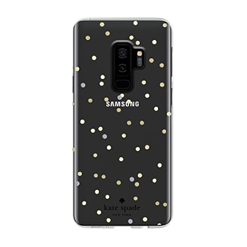 kate spade new york Protective Hardshell Case for Samsung Galaxy S9+ - Multi Scatter Dot Gold / Clear with Stones -
