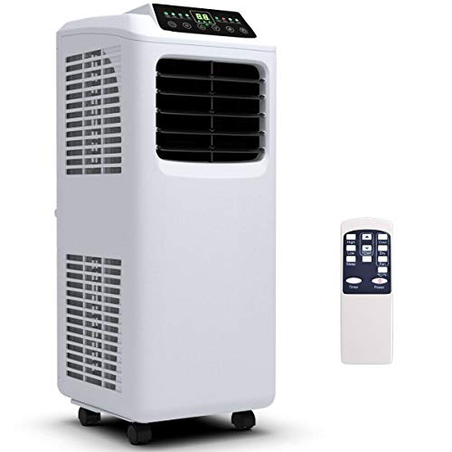 (COSTWAY 10000 BTU Air Conditioner, Portable Air Conditioner Unit with Dehumidifier and Fan for Rooms. Remote Control, Window Wall Mount, 4 Caster Wheel, Sleep Mode and 2 Fan Speed)