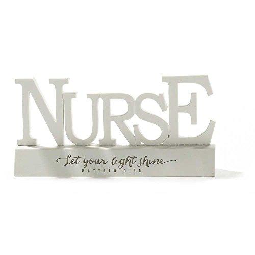Nurse Matthew 5:16 Word on Pedestal White 3.5 x 6.5 Resin Stone Table Top Sign Plaque (Pedestal Stone White)