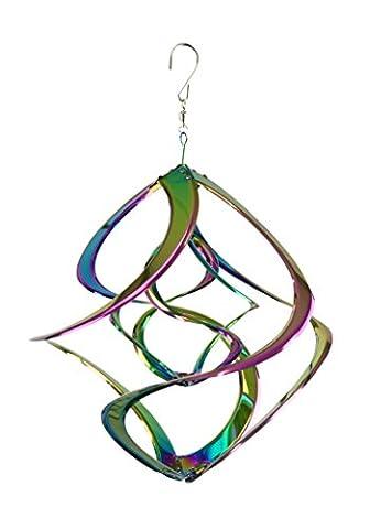Red Carpet Studios Hanging Double Rainbow Cosmix Wind Spinner - Kinetic Metal Sculpture