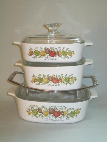 Set of 3 - Vintage 1970s Corning Ware  inch Spice O Life  inch Covered Casserole Baking Dishes w/ Rack (1 Liter, 1.5 Liter & 2 Quart)