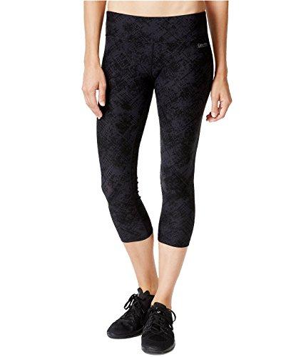 Calvin Klein Performance Women's Plaid Print Cropped Leggings (Large, Charcoal Combo)
