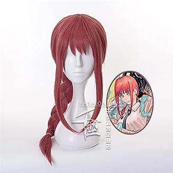 Anime motosierra hombre Makima Cosplay pelucas flequillo largo cola de caballo trenzas pelo fiesta disfraz juego de rol peluca de mujer