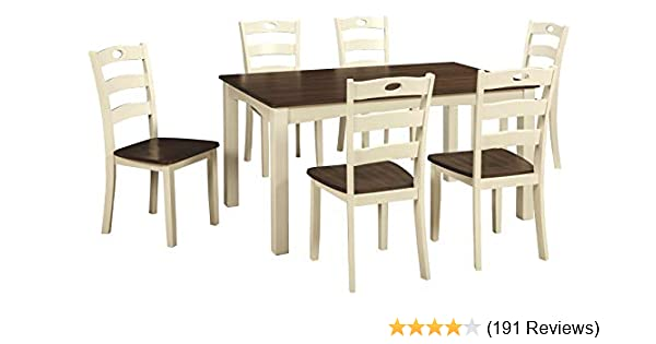 Ashley Furniture Signature Design Woodanville Dining Room Table Set Set Of 7 Dining Table And 6 Chairs Casual Cream Brown Finish