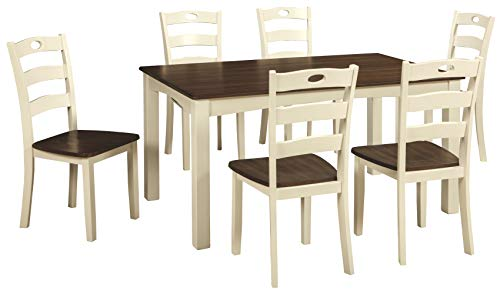 - Ashley Furniture Signature Design - Woodanville Dining Room Table Set - Set of 7 - Dining Table and 6 Chairs - Casual - Cream/Brown Finish