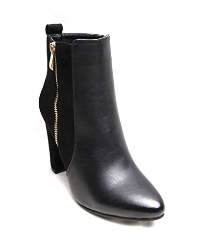 Women Ladies Ankle Boots Shoe Faux Leather Suede Gold Zip Pointy Block High Heel Black UGA1FzeZUr