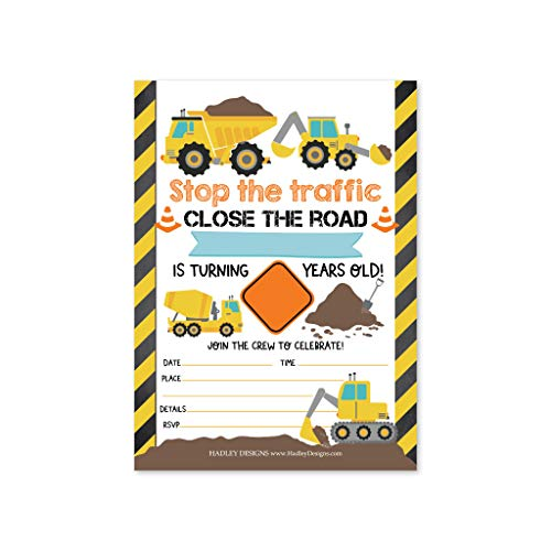 Themed Birthday Party Invitations (25 Orange Tractor Road Construction Zone Birthday Party Invitations for Boy, Bulldozer Truck Digging Invites for Kids, Yellow Builder Hammer, Traffic Sign Tape Theme Bday Supplies, Printable)