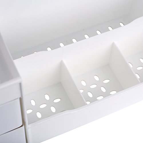 Mantello Makeup Organizer Vanity Organizer with Drawers, White by Mantello (Image #2)