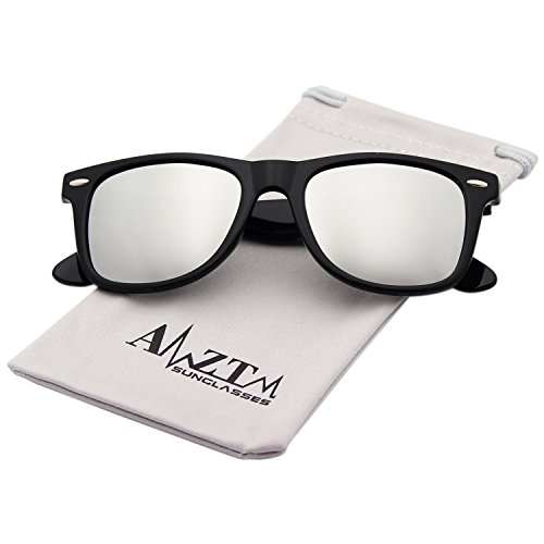 AMZTM Classic Square Retro Mirrored Lens Polarized Designer Wayfarer Sunglasses (Bright Black Frame Silver Lens, - Wayfarer Mirrored Men's Sunglasses