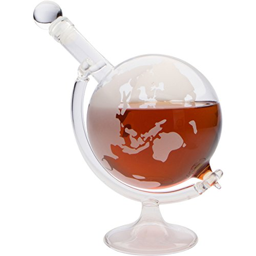 Etched Globe Decanter with Glass Stand by Monterey Crystal