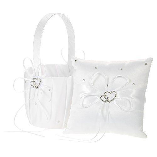 Decdeal Double Heart Satin Ring Bearer Pillow and Wedding Flower Girl Basket Set 6 x 6 inches ()