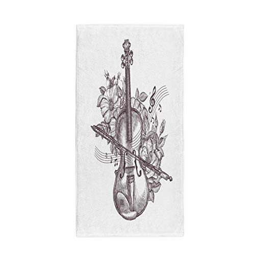 Semtomn 14 x 30 Inches Bath Towel Orchestra Vintage Fiddle Retro The Violin and Flowers Sketch Soft Absorbent Travel Guest Decor Hand Towels Washcloth for Bathroom(One Side ()
