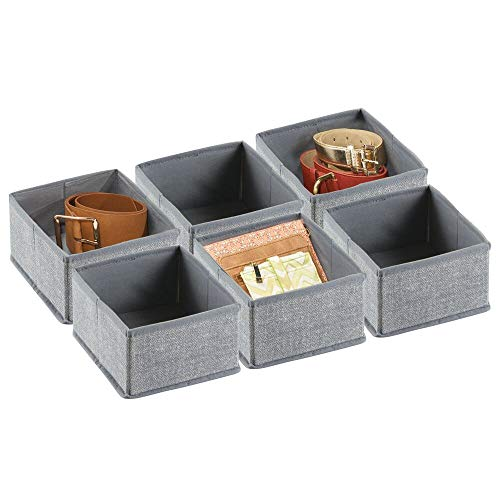 (mDesign Rectangular Soft Fabric Dresser Drawer and Closet Storage Organizer Bin for Lingerie, Bras, Socks, Leggings, Clothes, Jewelry, Scarves - Textured Print - 6 Pack - Gray)