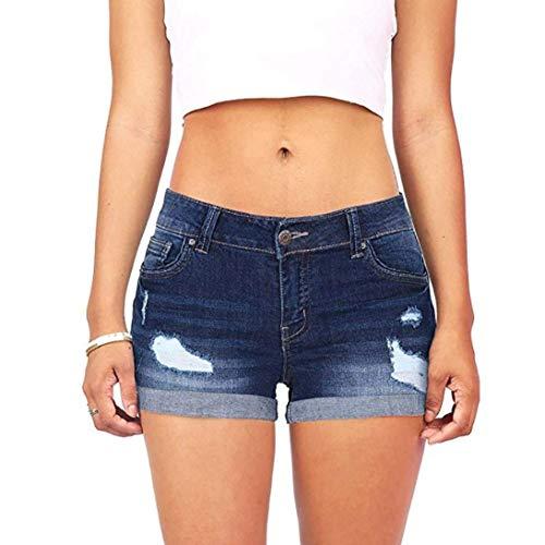 Baja Rasgado Pantalones Delgados De Las Casuales Marine Arriba Jeans Talle Cintura Lápiz Agujero Lavados Corto Para Mujeres Mini Alto Señoras Skinny Estiramiento BZX5xxUqw
