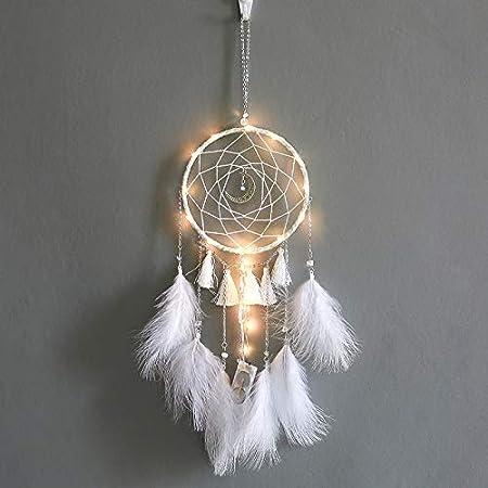 YIWAN Decorazione da Parete Realizzata a Mano da sognoMoon Dream Catcher Wind Chime Bianco Senza Luce