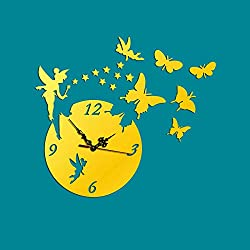 Fymural DIY Wall Clock Wall Stickers-Butterfly Fairy Modern Acrylic Mirror Surface 3D Simple Big Size Wall Decor Clocks Numbers Stickers for Living Room Bedroom TV Wall Decoration Removable