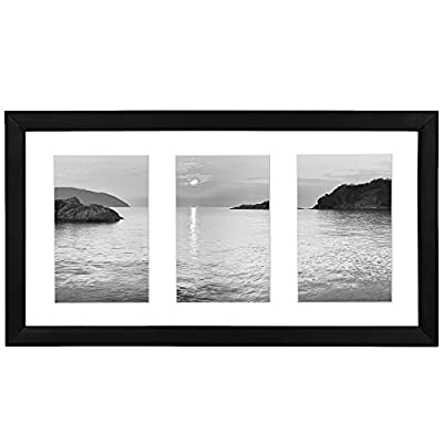 Americanflat 8x14 Inch Collage Picture Frame - Display Three 4x6 Inch Photos on Your Wall - Perfect As a Family Collage Picture Frame - Design: Black 8x14 inch collage picture frame with three 4x6 inch openings, perfect for your cherished memories, family portraits and vacation photos; frame includes a white beveled mat that draws attention to the frame and makes your photos stand out; comes with hanging hardware for hassle-free display in both horizontal and vertical formats to hang flat against the wall Material: Wood frame with a polished glass front that gives a clear view of your pictures and preserves your photographs, cards and memories Quality: Durable, gallery-style frame; the frame's front has clear glass and a sturdy backboard to keep the photos in place; load your photos, cards, and memories easily, quickly and securely - picture-frames, bedroom-decor, bedroom - 41b%2BxHBS84L. SS400  -