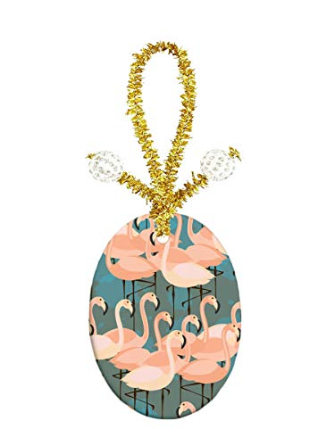 Pendant Jewelry Porcelain Oval - Eunice Many Flamingos Porcelain Ornament Crafts Oval Porcelain Christmas Decorations Home Hanging Jewelry Gift Souvenir
