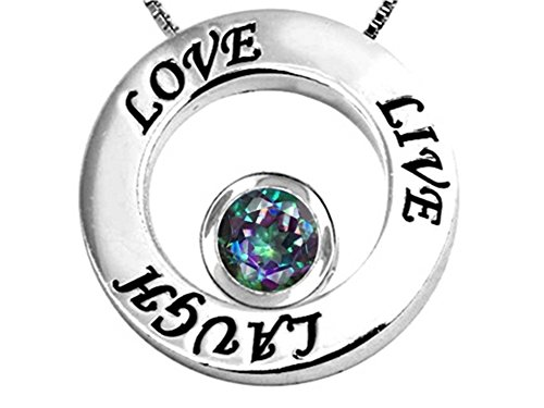 Star K Sterling Silver Live Love Laugh Circle of Life Pendant Necklace