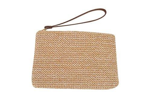 AGNETA Women's Hand Wrist Type Straw Clutch Summer Beach Sea Handbag (Brown Large) by AGNETA (Image #4)