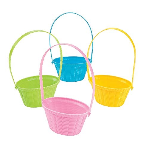Fun Express - Mini Plastic Pastel Easter Baskets for Easter - Party Supplies - Containers & Boxes - Misc Containers & Boxes - Easter - 12 - Basket Easter Oriental