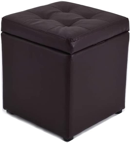 Visual Taste Tufted Leather Square flip top Storage Ottoman Cube Foot Rest for Living Room Bedroom The Door ???-Brown 303035CM