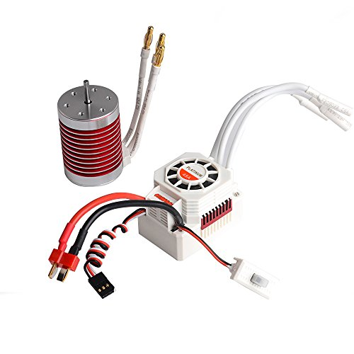 Jrelecs F540 4370KV 4 pole 3.175mm Waterproof Brushless Motor with 45A Waterproof ESC Electronic Speed Controller for 1/10 1:10 Scale RC car WLtoys 10428/12428 HG P601