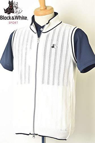 [ブラック&ホワイト] ジップアップニットベスト トップス メンズ ゴルフ L ホワイト(10) B07Q8JFNC2