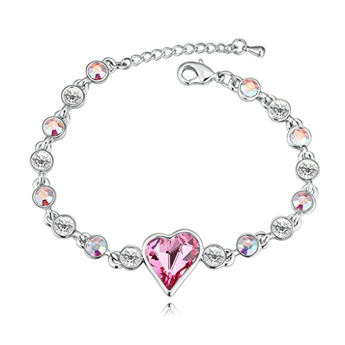 Adisaer White Gold Plated Womens Bracelet Link Bracelets Love Heart Red Cubic Zirconia 16CM (White Gold Assorted Link Chain)