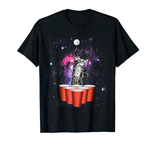 Kitty Playing Beer Pong In Space Nebula Graphic T-Shirt