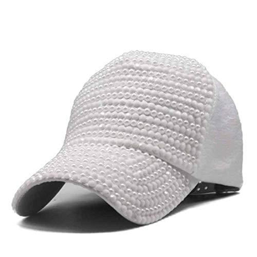 (Womens Bling Baseball Cap Luxury Faux Pearls Rhinestones Fashion Cap Female Summer Casual Sun Hat White)
