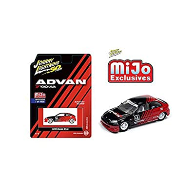 Johnny Lightning New DIECAST Toys CAR 50TH Anniversary 1:64 1998 Civic ADVAN Yokohama (Black/RED) (MIJO Exclusives) JLCP7180-24: Toys & Games
