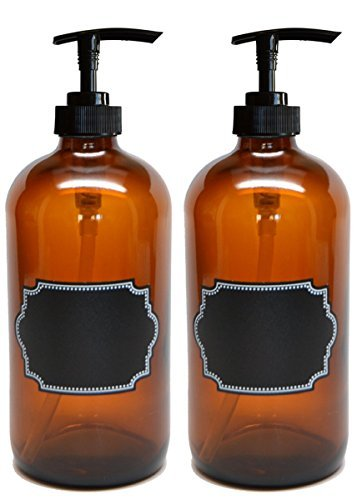 Firefly Craft 2 Pack Amber Glass Pump Bottle with Chalkboard Labels, 16 Ounces Each