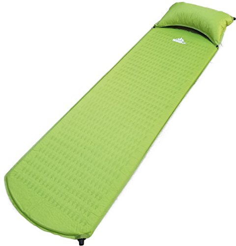 (Outdoorsman Lab Lightweight Self-Inflating Sleeping Pad with Self-Inflating Pillow for Camping, Backpacking (Green))