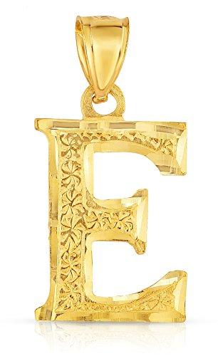 10K Yellow Gold Charm Pendant Letter E Personalized Alphabet Initial Name Monogram for (Yellow Gold Monogram)