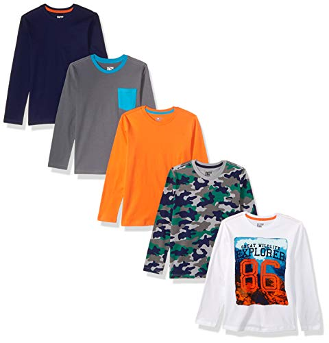 Spotted Zebra Big Boys' 5-Pack Long-Sleeve T-Shirts, Explorer, Medium (8)