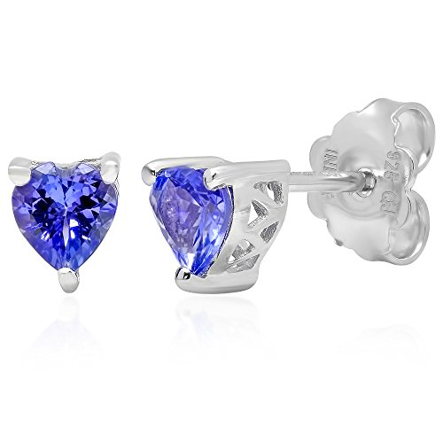 Tanzanite Set Shape Earrings - Tanzanite Heart Shape Stud Earrings Set in Sterling Silver (3/4 ctgw.)