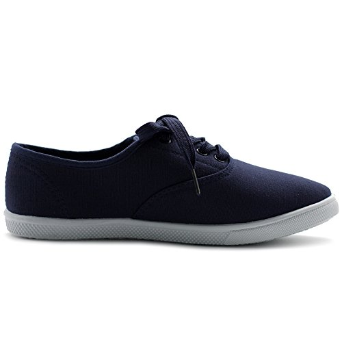 Ollio Womens Shoes Lace Up Sneakers Canvas Flats Navy ZDv6so9Si