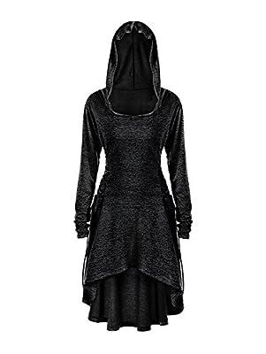 Gemijack Womens Halloween Costumes Medieval Renaissance Costume Long Sleeve Cosplay Hoodie Dress Cloak