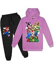Proxiceen Super Mario huvtröjor, tecknad animetröja, hoodie + joggingbyxor för flickor och pojkar, tecknat spel, långärmad tröja, 3–14 år