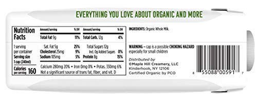 Maple Hill, Shelf Stable Milk, 100% Grass-Fed, Organic- 12pack- 8oz cartons Whole White Milk