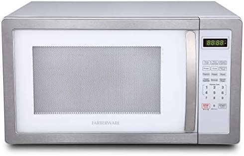Farberware FMO11AHTPLB 1.1 Cu. Ft. 1000-Watt Microwave Oven with LED Lighting Cubic Feet, White/Platinum