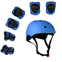 Lucky-M Kids 7 Pieces Outdoor Sports Protective Gear Set Boys Girls Cycling Helmet Safety Pads Set [Knee&Elbow Pads Wrist Guards] Roller Scooter Skateboard Bicycle(3-8Years Old)