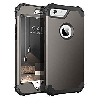 iPhone 6S Plus Case, iPhone 6 Plus Case, BENTOBEN Heavy Duty Rugged Shockproof 3 in 1 Hybrid Hard PC Soft Silicone Bumper Protective Phone Case for iPhone 6S Plus/iPhone 6 Plus (5.5 Inch), Gunmetal