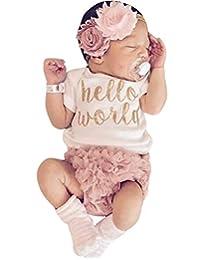 DPSKY 2Pcs/Set Newborn Baby Girl Hello World Short Sleeves Romper Bodysuit with Ruffles Tutu Shorts Bloomers Outfit Set