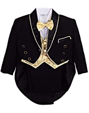 Lito Angels Baby Boys' Jacquard Classic Tuxedo Suit Formal Suits Wedding Outfit 5 Piece Set 015