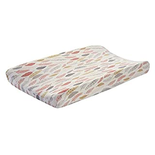 Lambs & Ivy Family Tree Coral/Gray/Gold Feather Changing Pad Cover