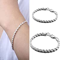 Fashion Womens 925 Sterling Silver Twisted Rope Chain Bracelet Jewelry