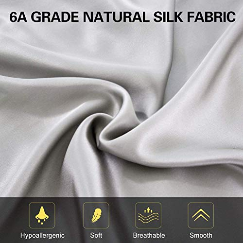 100% Mulberry Silk Pillowcase for Hair and Skin,with Hidden Zipper,Both Side 19 Momme Silk,600 Thread Count (Dark Grey)