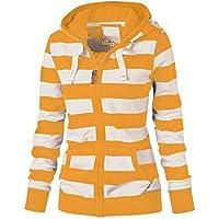NEARTIME Womens Plus Size Coat, New Ladies Striped Zipper Hooded Sweatshirt Winter Slim Pocket Jacket